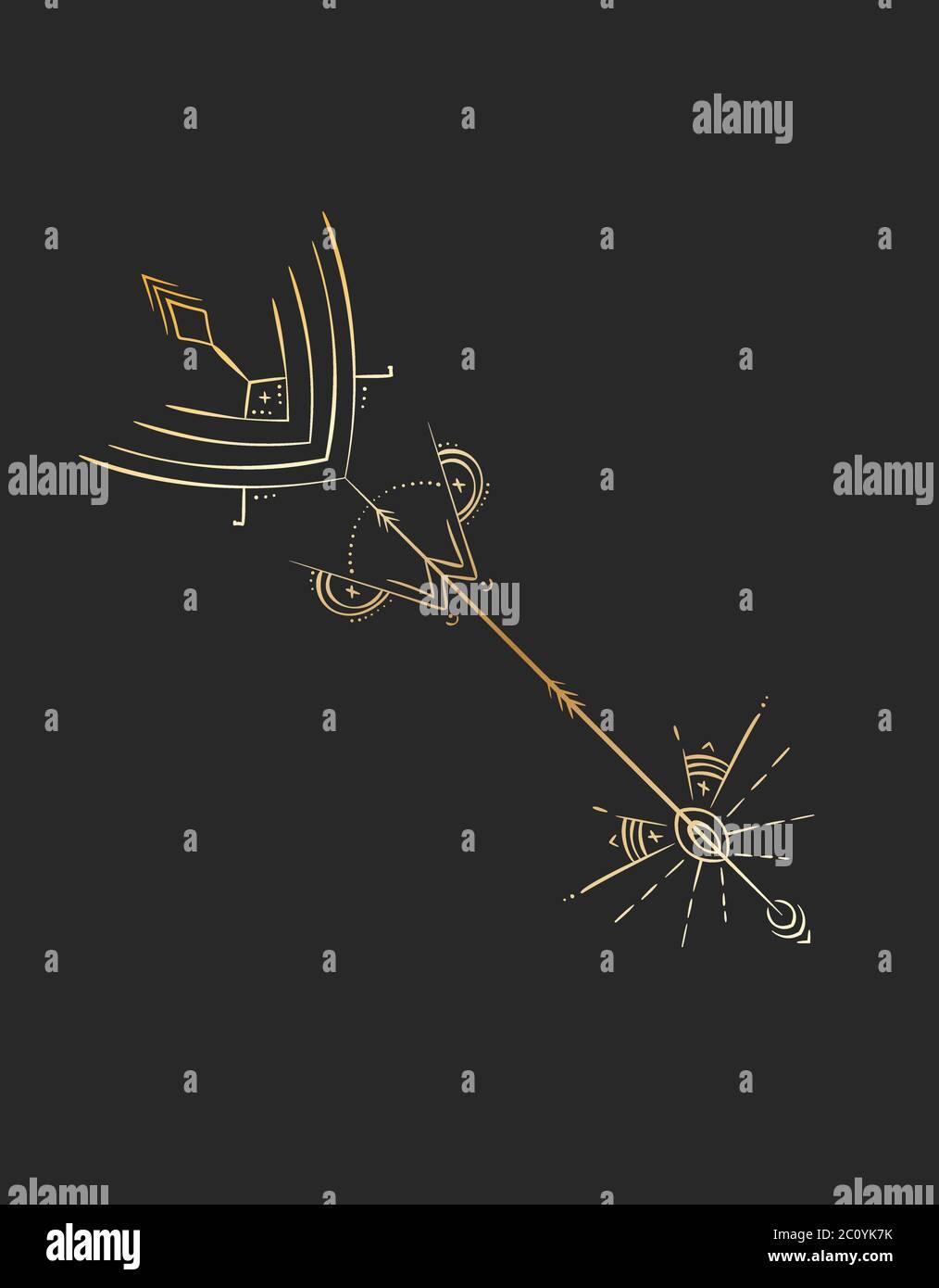 Diseño de tatuaje geométrico, flecha de alquimia mística dorada Ilustración del Vector