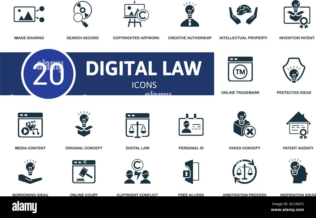 Conjunto de iconos de leyes digitales. La colección contiene ideas de inspiración, agencia de patentes, concepto falso, contenido de los medios y sobre iconos. Conjunto de elementos de ley digital. Ilustración del Vector