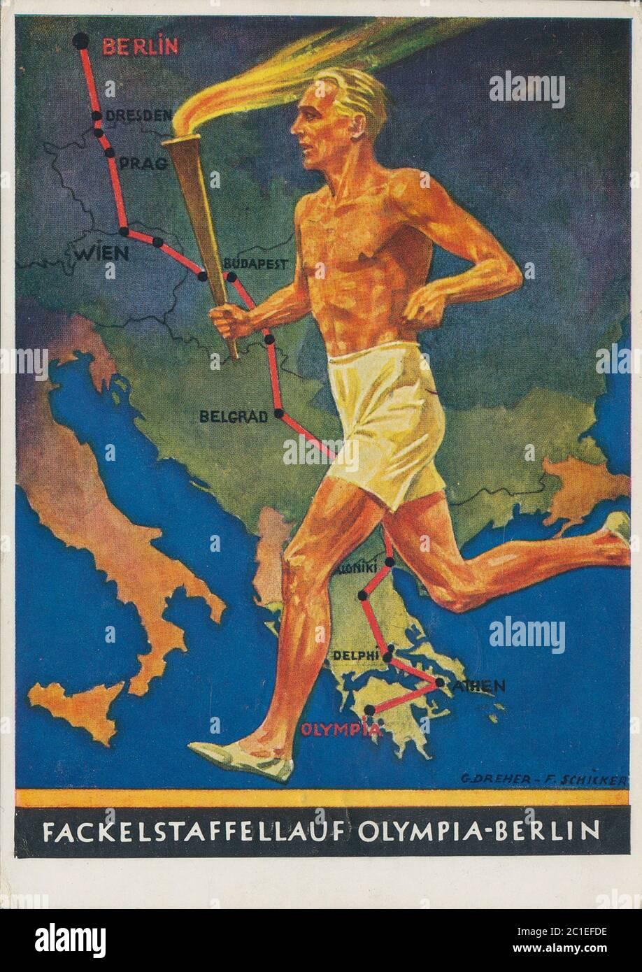 Los Juegos Olímpicos de 1936, oficialmente conocidos como los Juegos de la XI Olimpiada (en alemán: Spiele der XI Olympiade), fue un evento internacional multideportivo Foto de stock