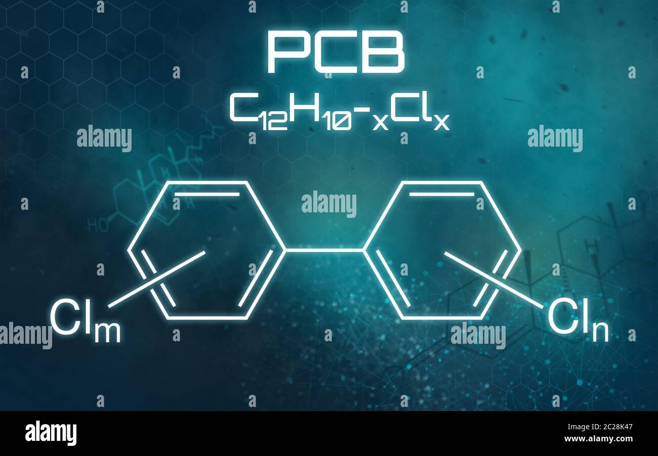 Fórmula química de PCB en un fondo futurista Foto de stock