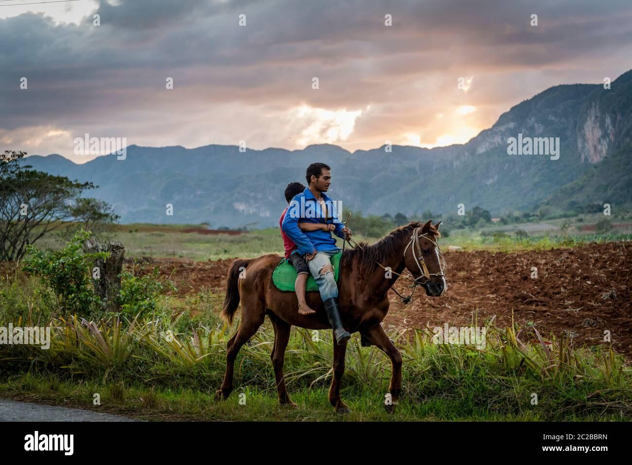 Cabalgata de padre e hijo al atardecer en el Valle de Vinales, Cuba Foto de stock