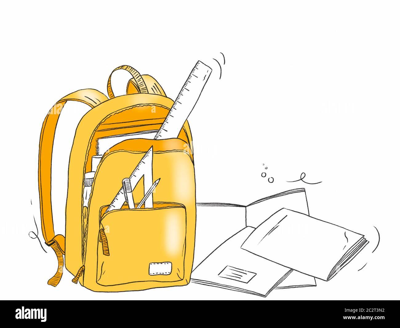 Ilustración de una bolsa de la escuela con objetos de papelería - Volver a Shool Foto de stock