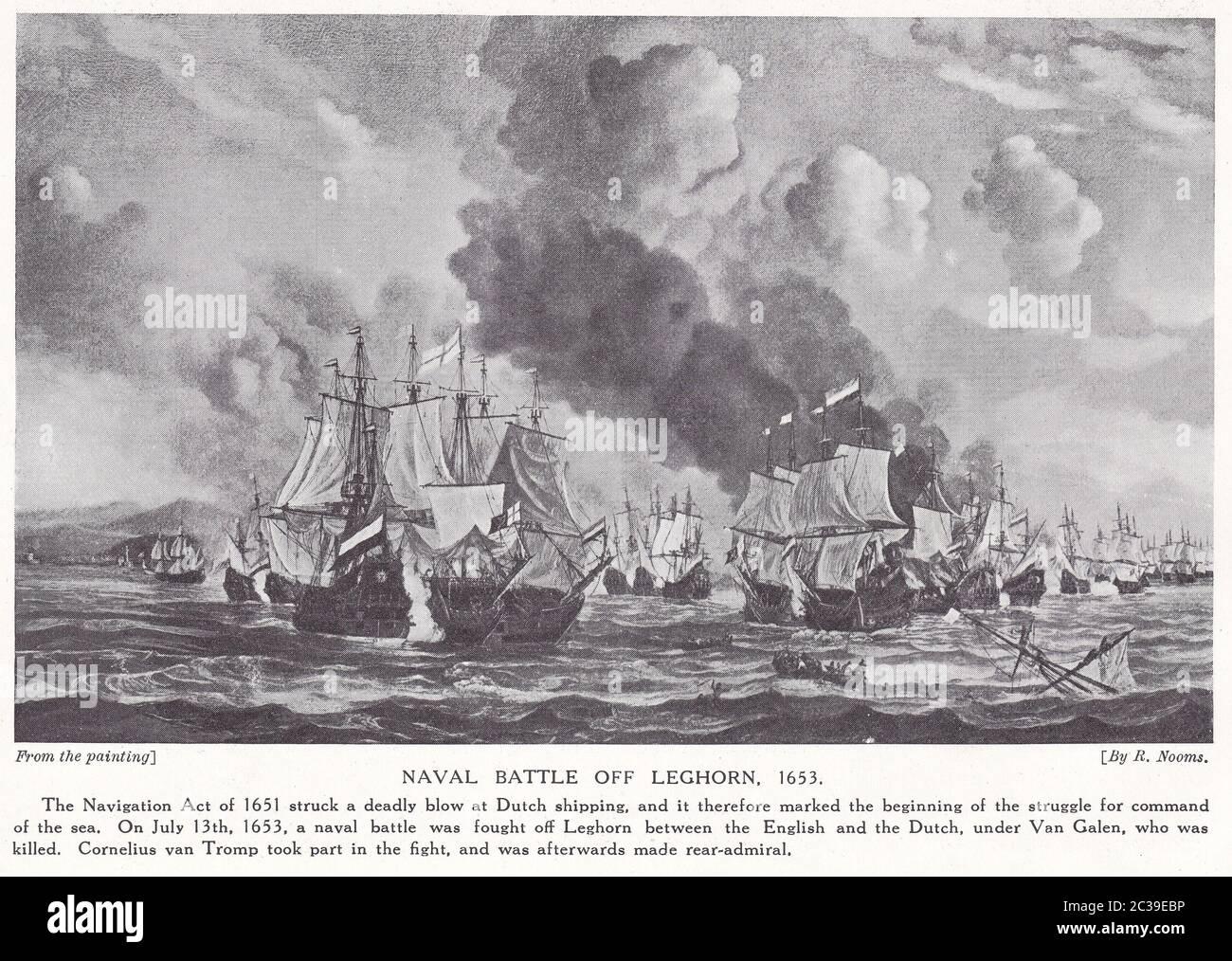 Batalla Naval de Leghorn, 1653 - pintura de R. Nooms. Foto de stock