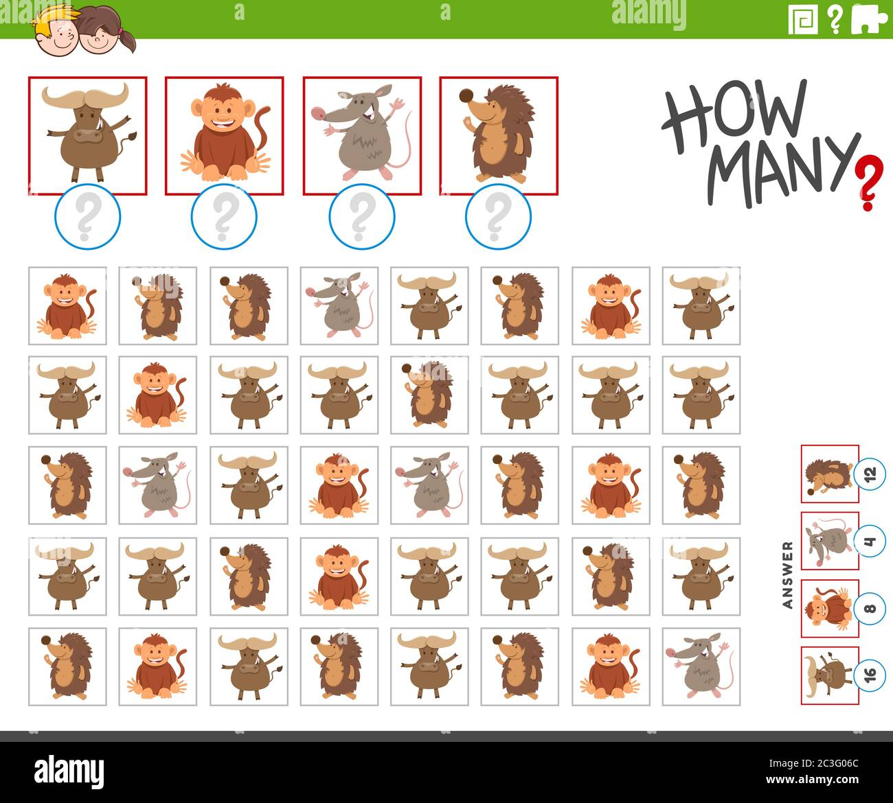 cuántos personajes de animales cuentan juego Foto de stock