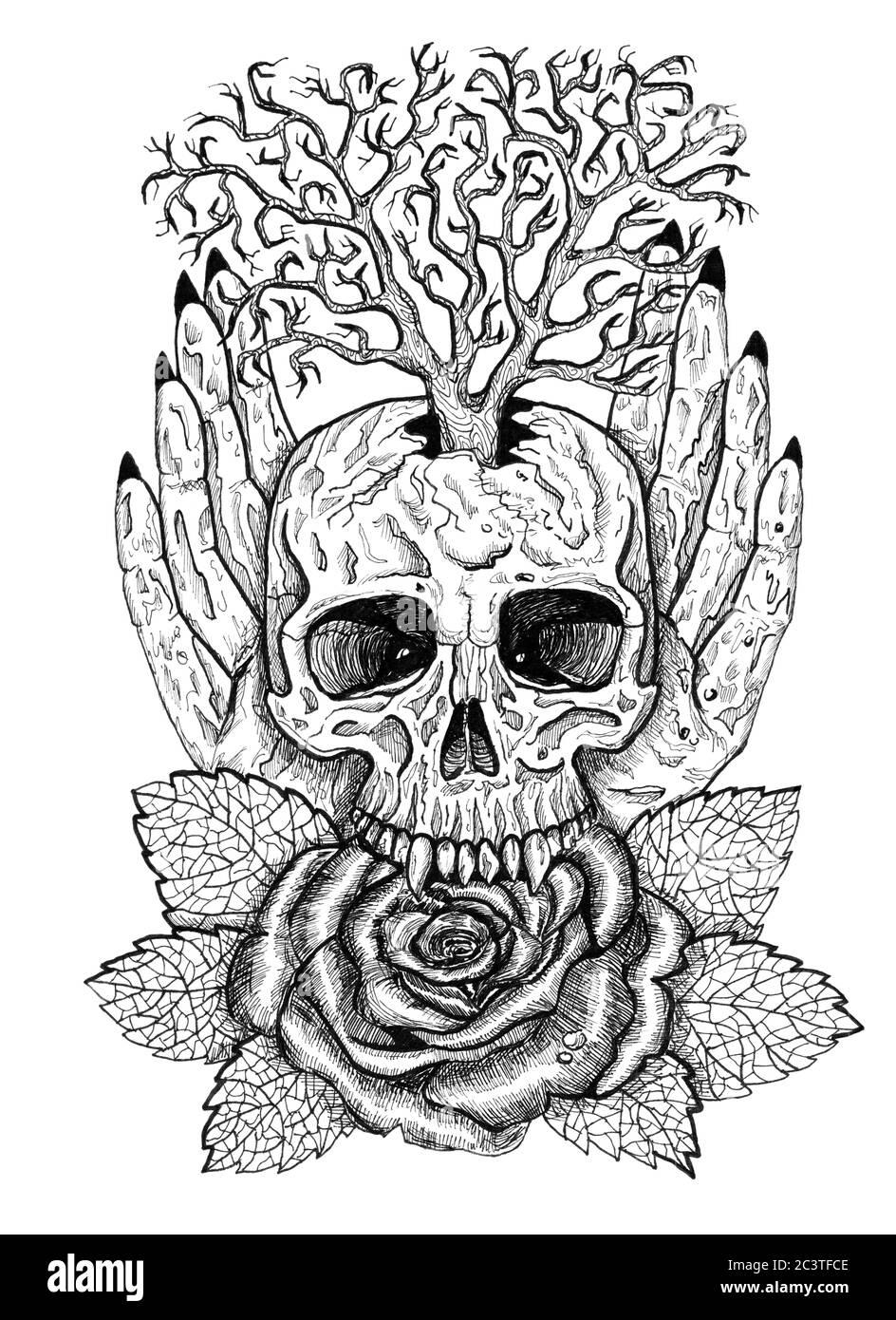 Emblema wiccan blanco y negro con cráneo, manos humanas, flor de rosa y árbol. Ilustración esotérica, oculta y gótica con símbolos de la muerte, Halloween Foto de stock