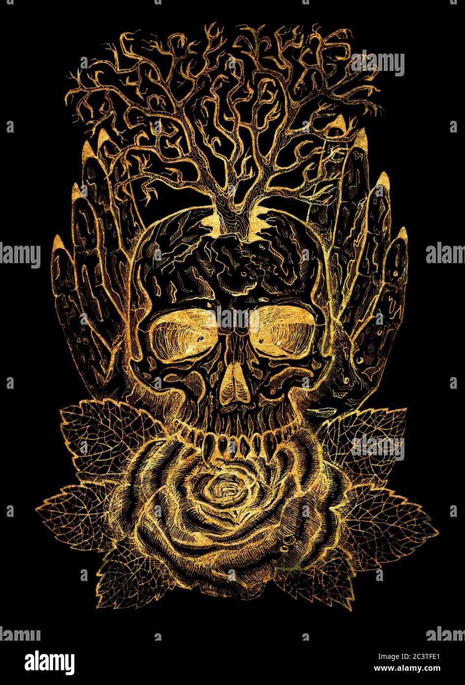 Emblema de oro con cráneo, manos humanas, árbol y rosa. Ilustración esotérica, oculta y gótica con símbolos de muerte, Halloween fondo místico, eng Foto de stock