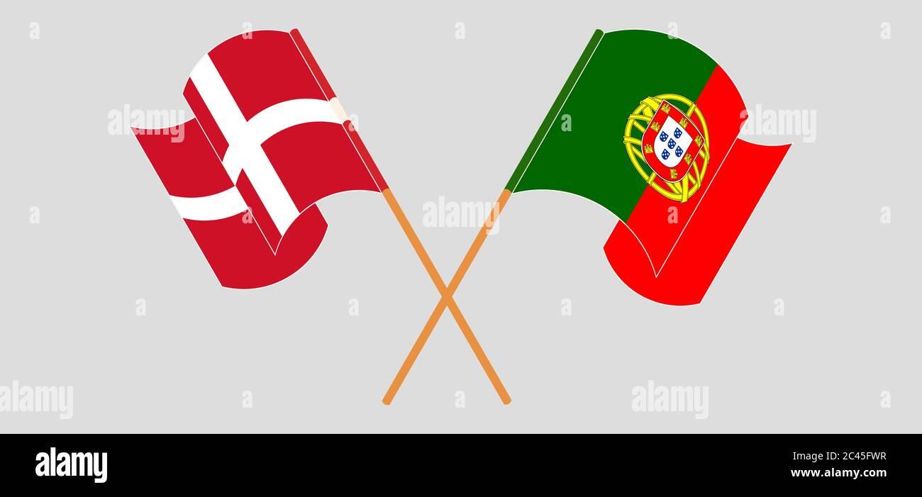 Banderas cruzadas y agitadas de Portugal y Dinamarca. Ilustración vectorial Ilustración del Vector
