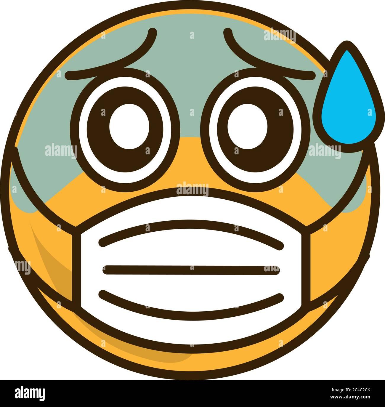 emoticono temeroso con máscara médica coronavirus covid-19 pandemia, dibujos planos estilo vector Ilustración del Vector