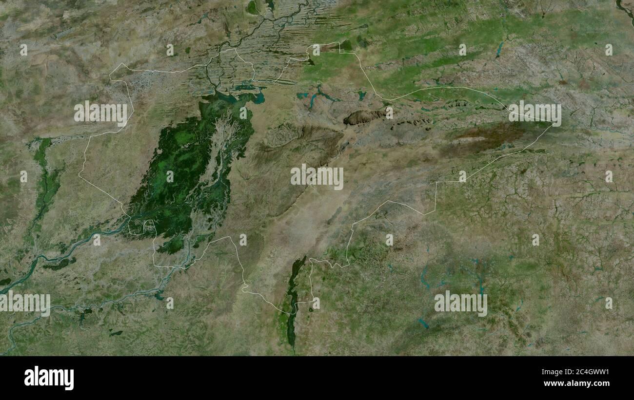 Mopti, región de Malí. Imágenes por satélite. Forma delineada contra su área de país. Renderizado en 3D Foto de stock