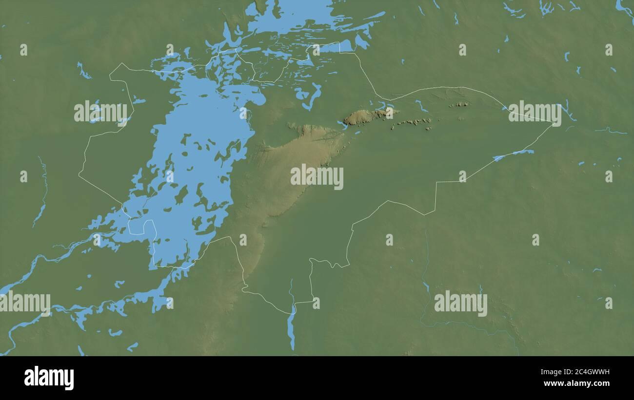 Mopti, región de Malí. Datos de sombras coloreadas con lagos y ríos. Forma delineada contra su área de país. Renderizado en 3D Foto de stock