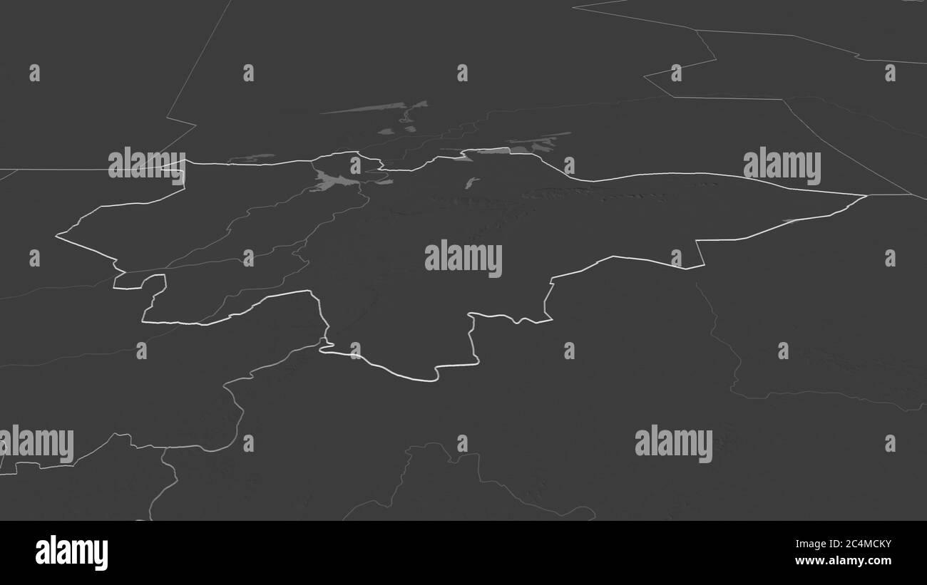 Ampliar en Mopti (región de Malí) esbozado. Perspectiva oblicua. Mapa de elevación en dos niveles con aguas superficiales. Renderizado en 3D Foto de stock