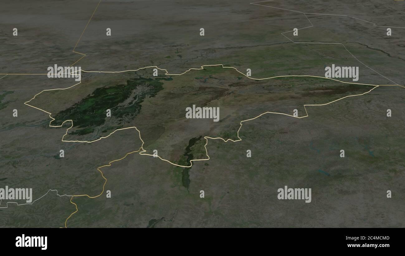 Ampliar en Mopti (región de Malí) esbozado. Perspectiva oblicua. Imágenes por satélite. Renderizado en 3D Foto de stock