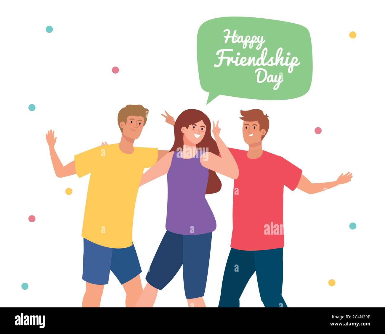 Feliz Dia De La Amistad Jovenes Con Mujer Emocion De La Amistad Alegre Riendo De La Felicidad Imagen Vector De Stock Alamy