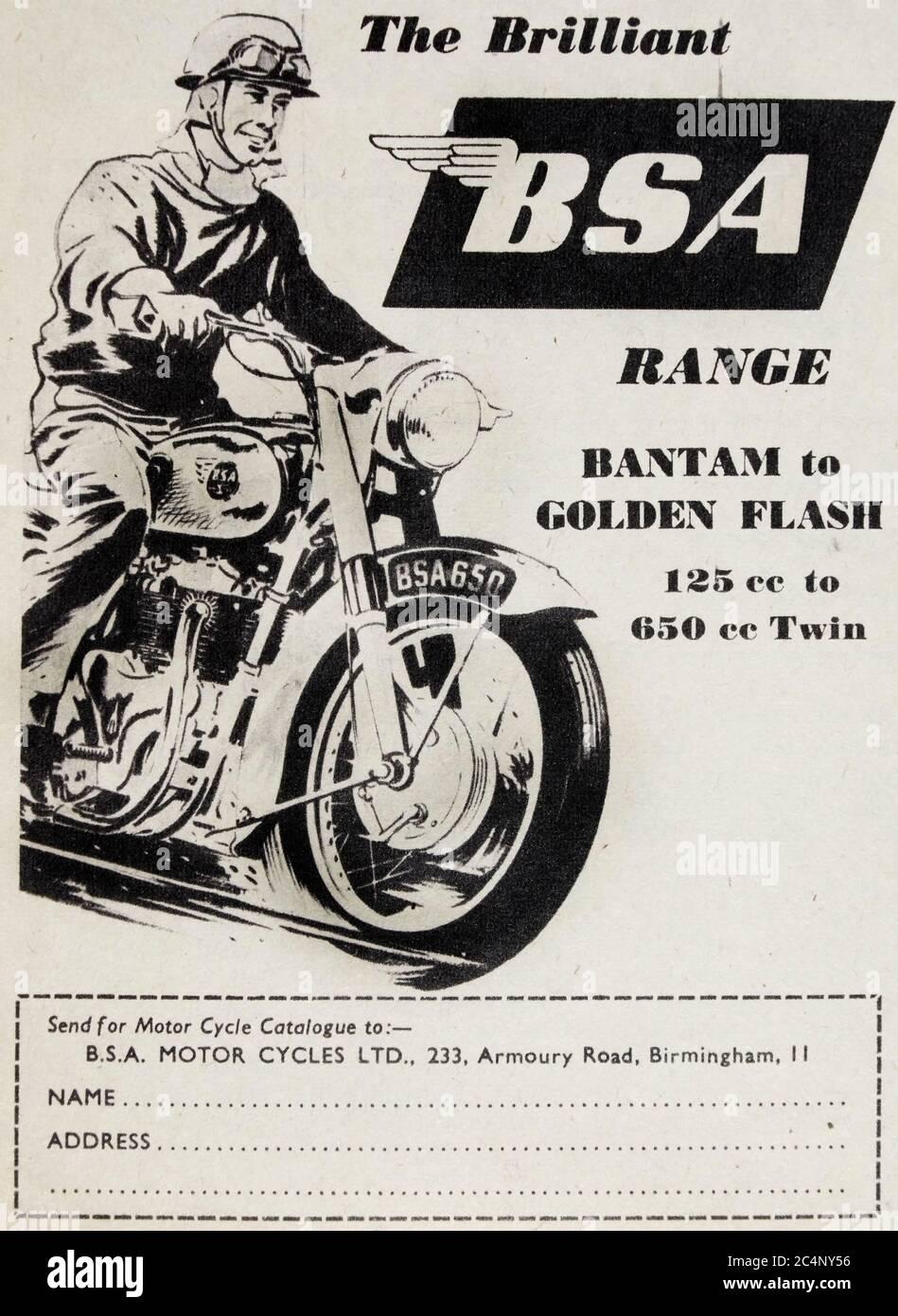 Anuncio de la cosecha para la gama británica de motocicletas BSA. Foto de stock