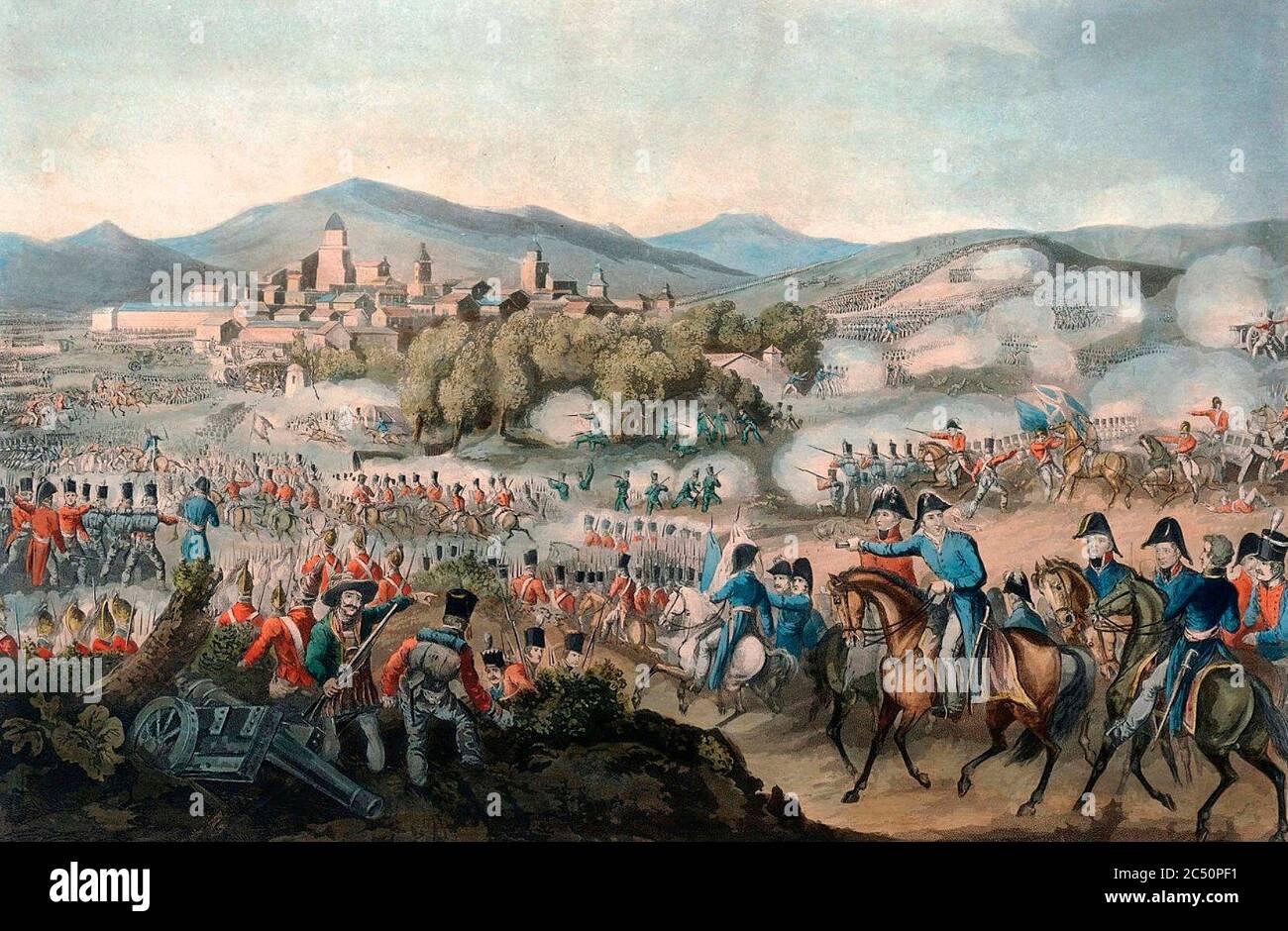 Batalla de Vitoria Batalla de Vitoria, por Heath & Sutherland, guerras napoleónicas. Guerra peninsular. Foto de stock