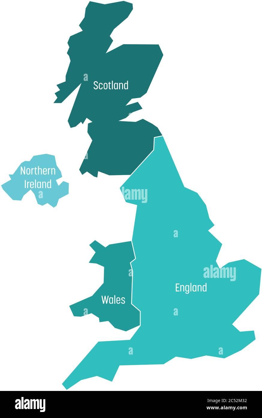 Escocia Mapa Reino Unido.Mapa Del Reino Unido Reino Unido Gran Bretana E Irlanda Del Norte Dividido En Cuatro Paises Inglaterra Gales Escocia Y Ni Ilustracion Simple De Vector Plano Imagen Vector De Stock Alamy