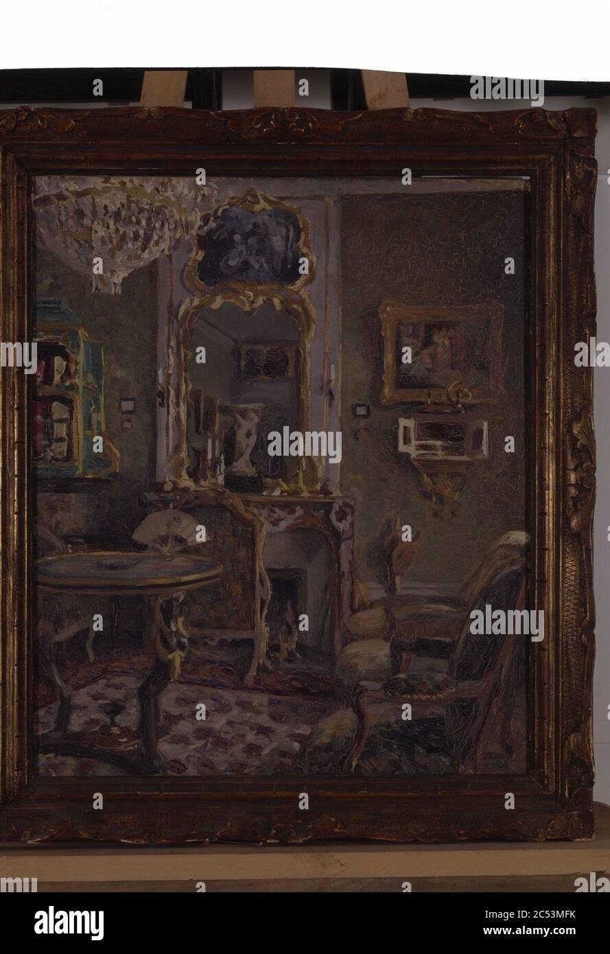 Intérieur de salon - Louis Desbois - musée d'art et d'histoire de Saint-Brieuc Foto de stock