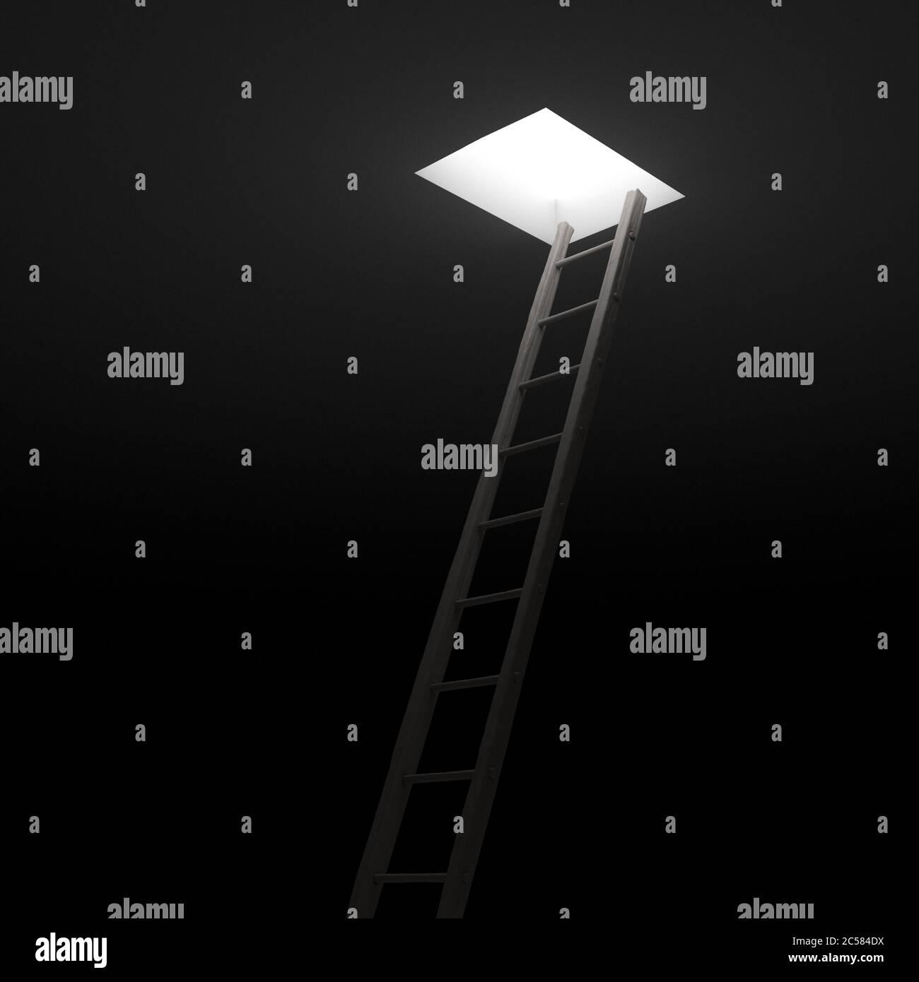 Escalera que conduce a la luz. Presentación 3d. Concepto de libertad. Foto de stock