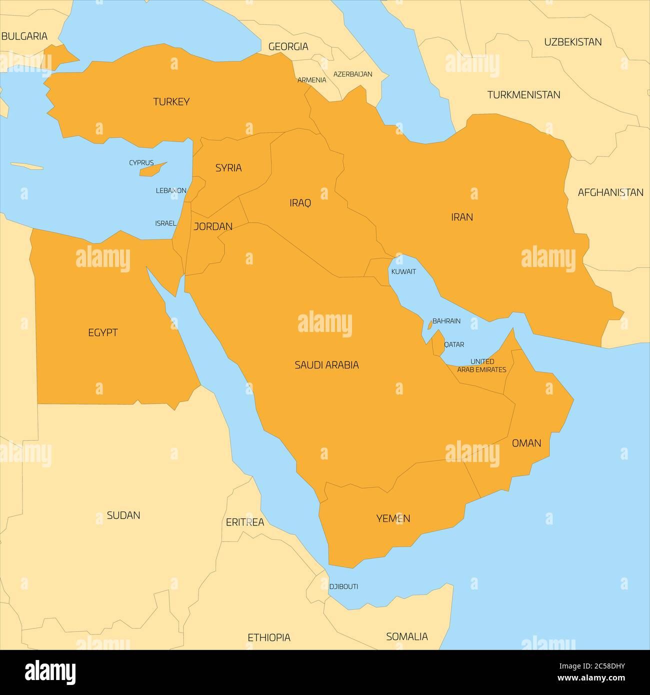 Picture of: Mapa De La Region Transcontinental De Oriente Medio O Cercano Oriente Con Paises De Asia Occidental