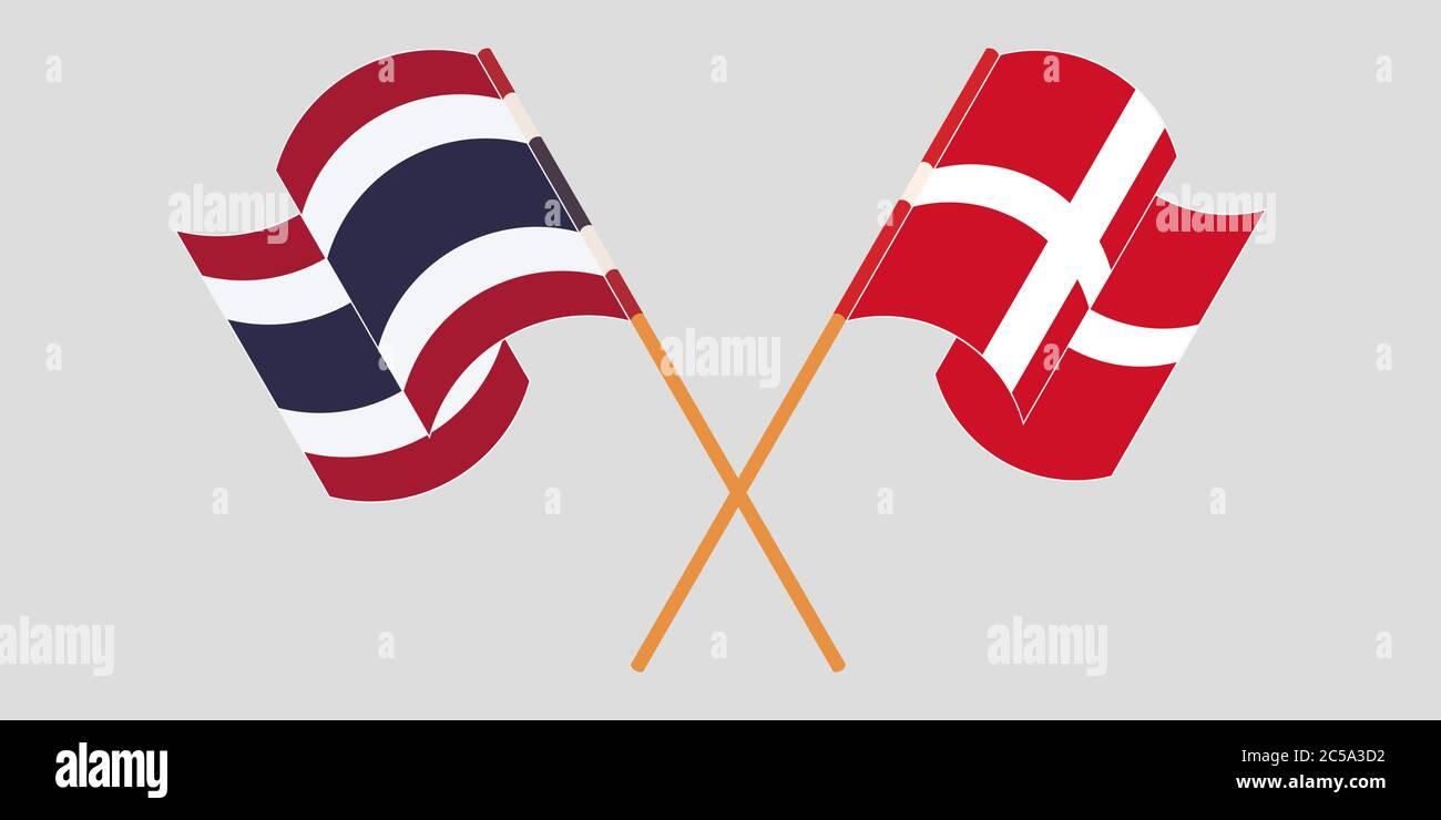 Banderas cruzadas y agitadas de Tailandia y Dinamarca. Ilustración vectorial Ilustración del Vector
