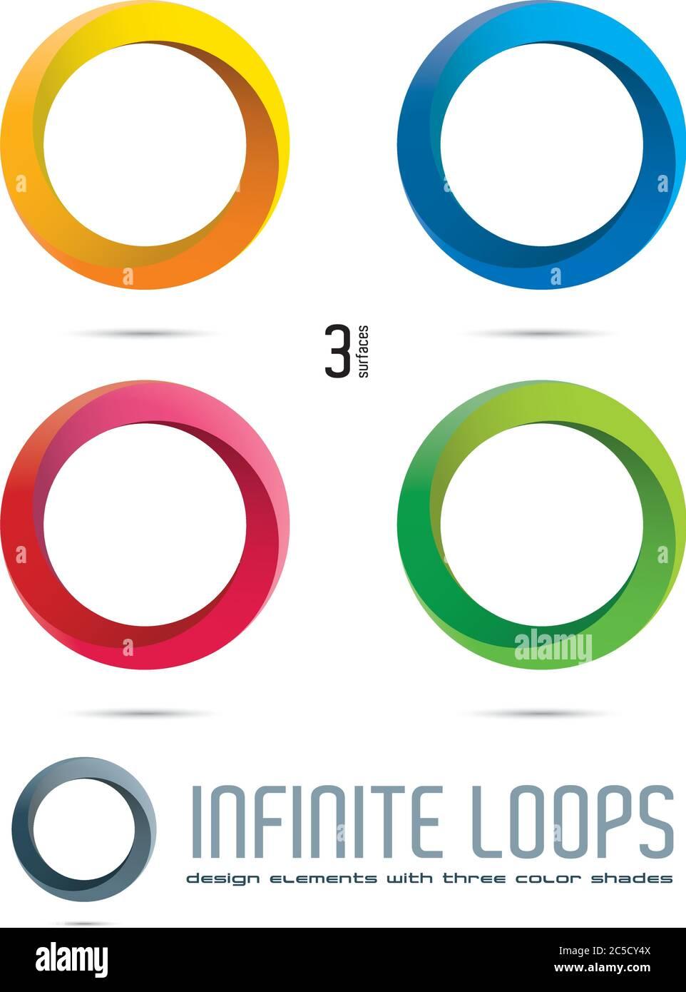 Imposible Infinite Loop Vector elementos de diseño con tres superficies y tonos de color. Fácilmente editable con muestras de color globales. Ilustración del Vector