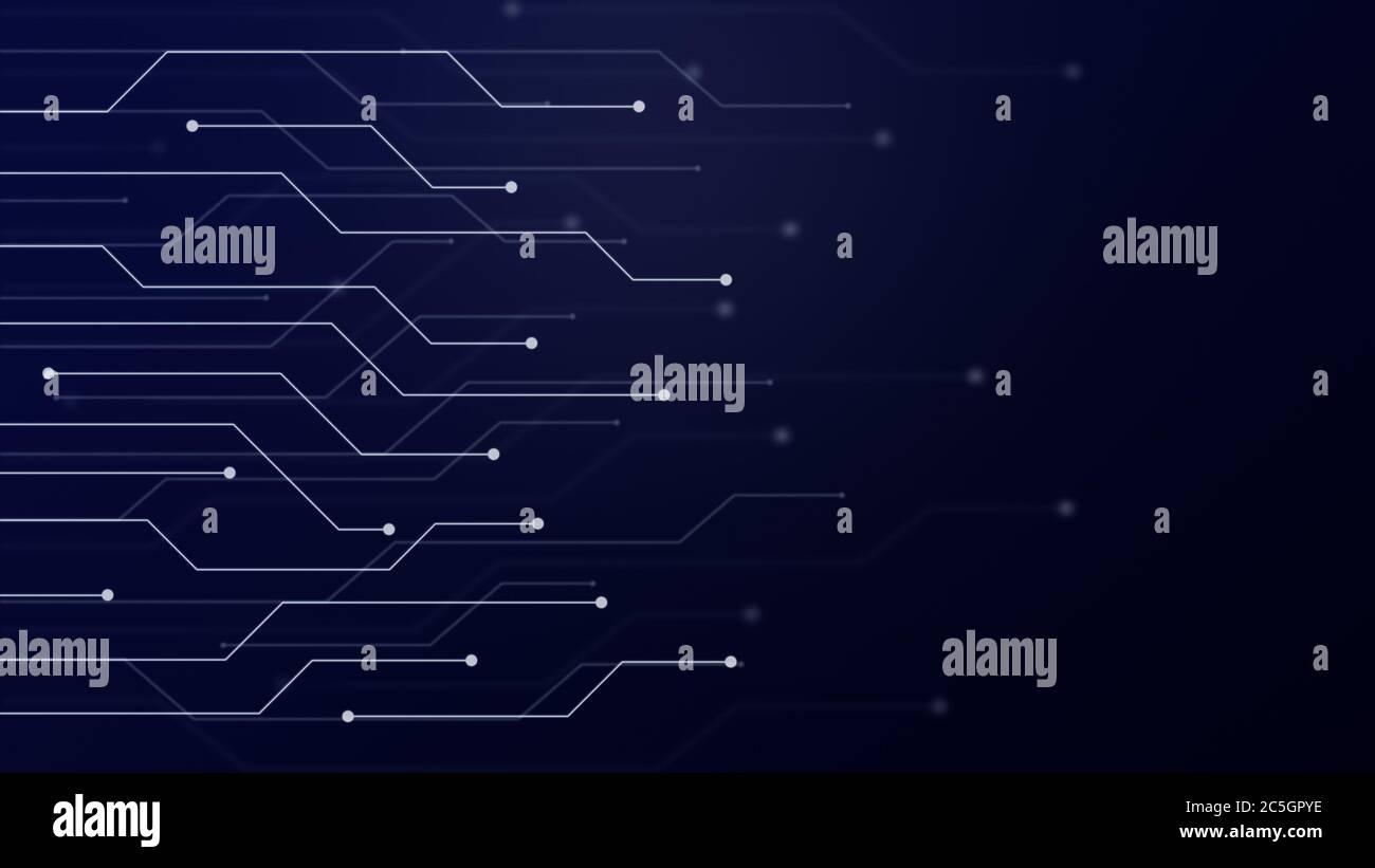 Resumen futurista placa de circuito o blockchain concepto de red ilustración. Concepto de conexión electrónica, tecnología o informática fondo azul. Foto de stock