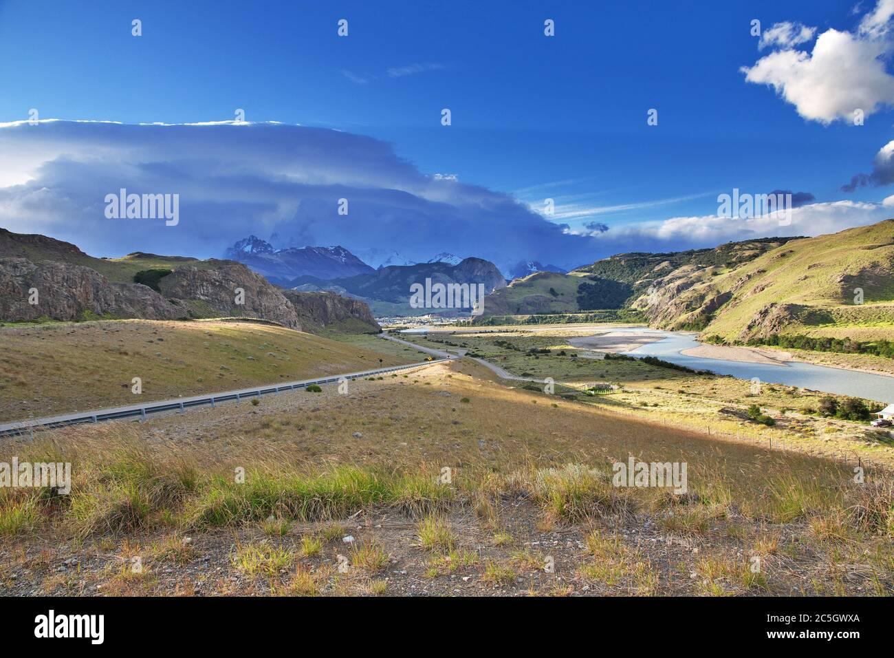 La vista sobre el Chalten, Patagonia, Argentina Foto de stock