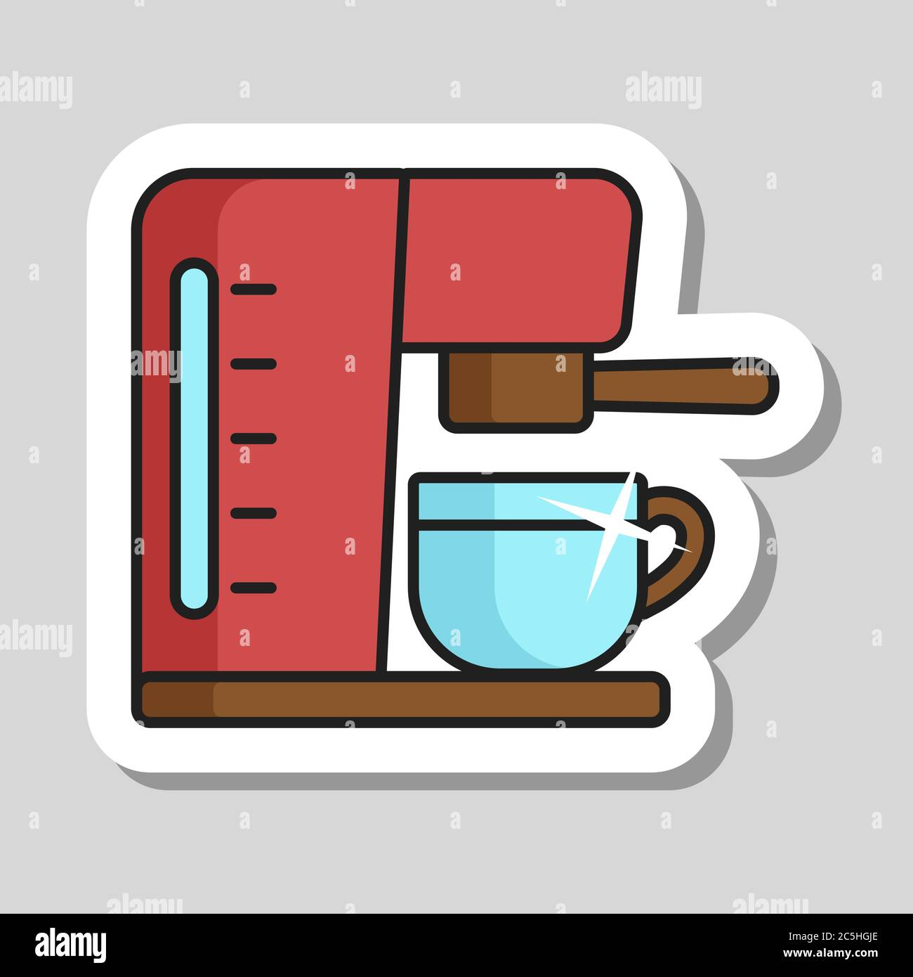 Cafetera con icono de vector de taza para casa, restaurante