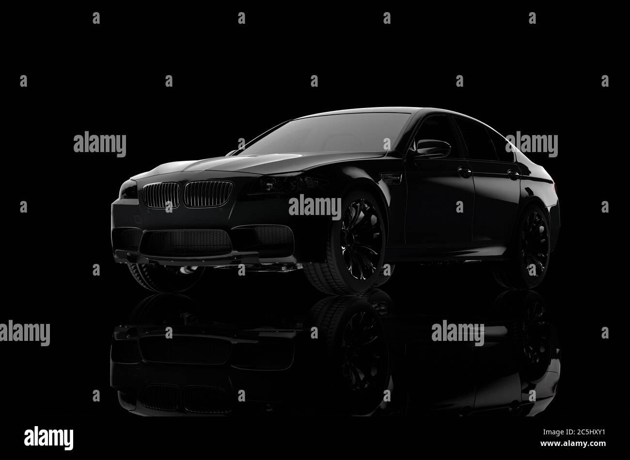 Reproducción en 3D de un coche de lujo sobre un fondo negro Foto de stock
