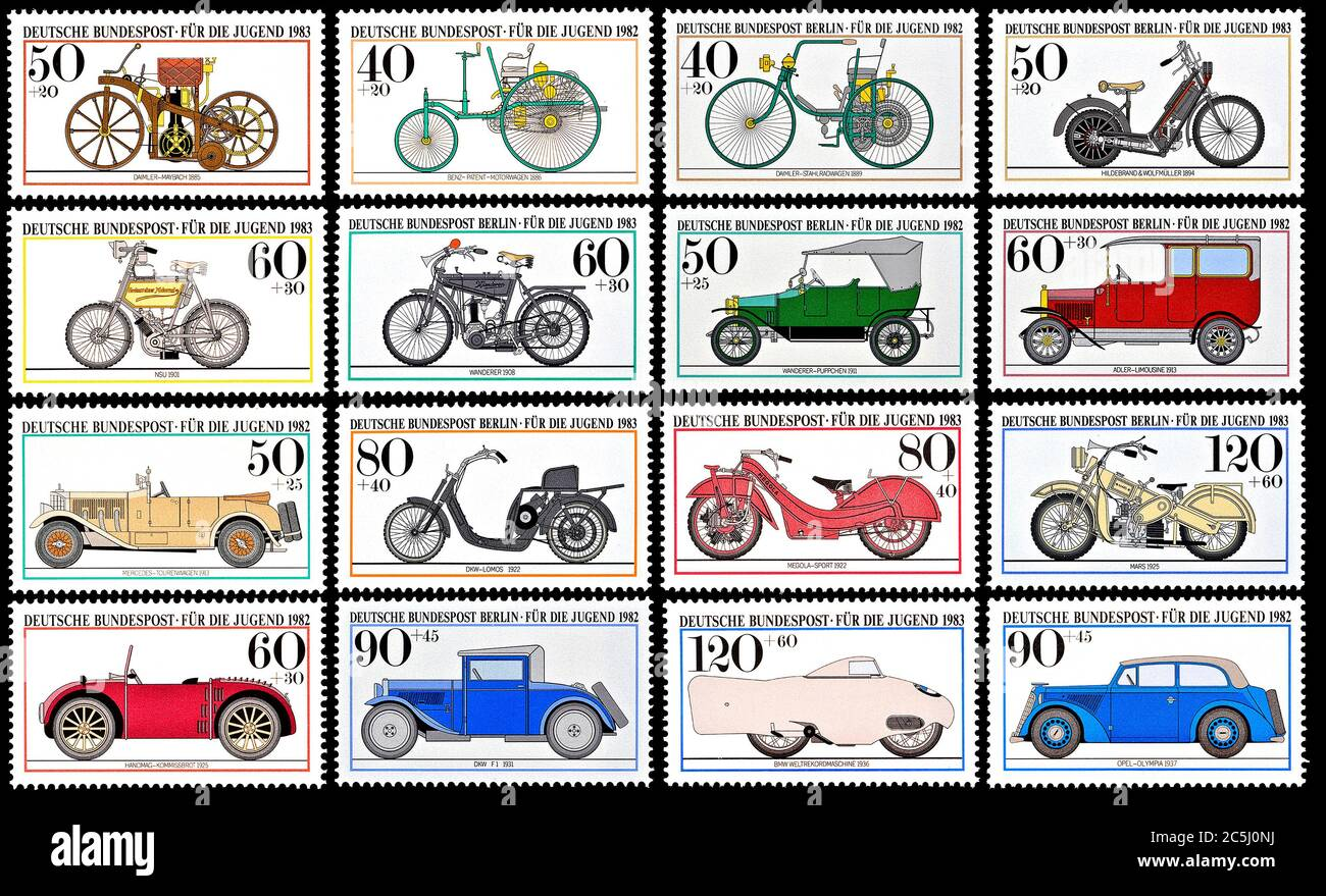 Sellos postales alemanes (1980) que muestran el desarrollo de vehículos de motor Foto de stock