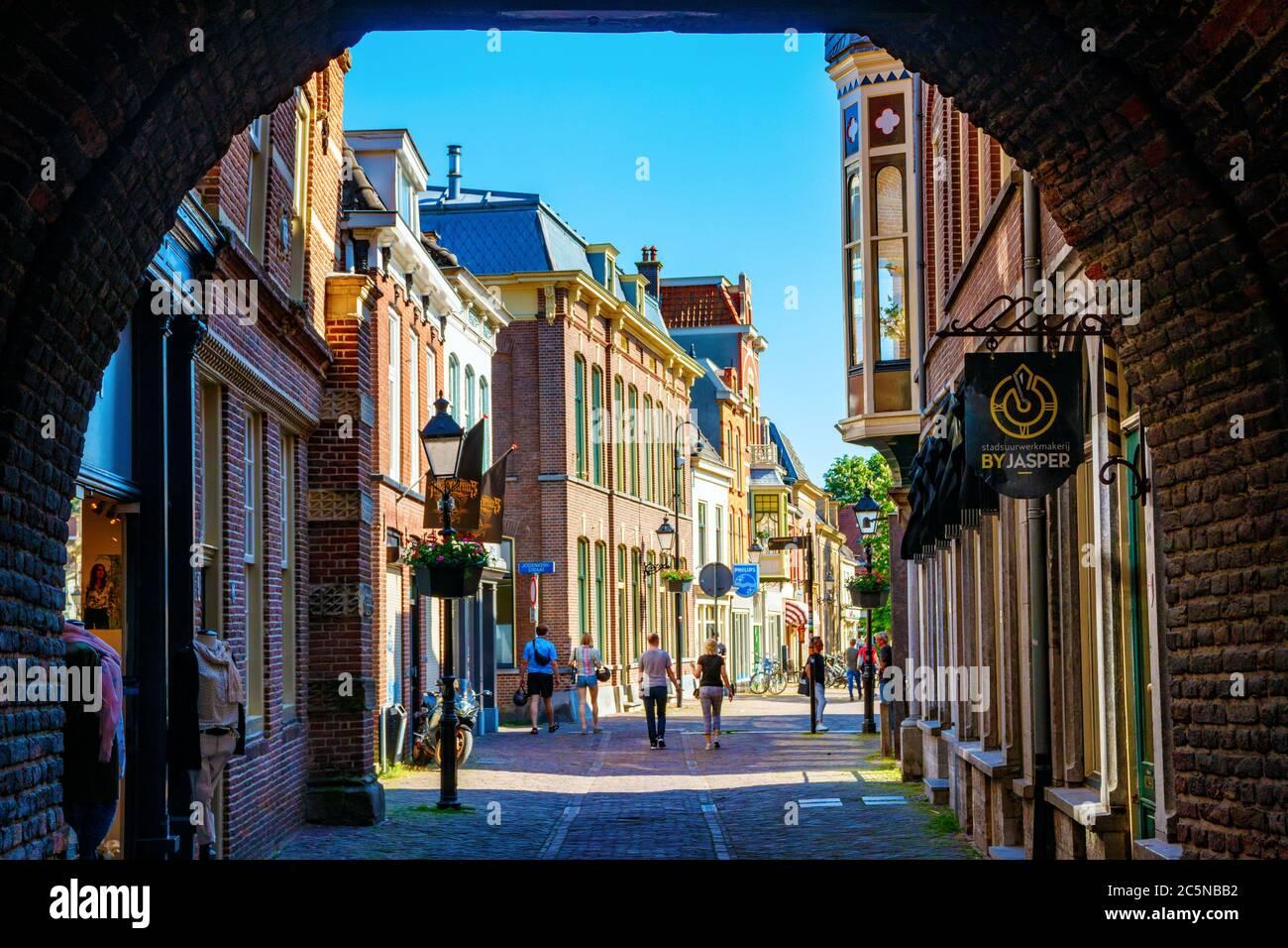 Culemborg. Centro de la ciudad vieja con el Varkensmarkt (Plaza del mercado de los Picos) visto desde el Binnenpoort (Puerta de la Ciudad) en una tarde soleada. Países Bajos. Foto de stock