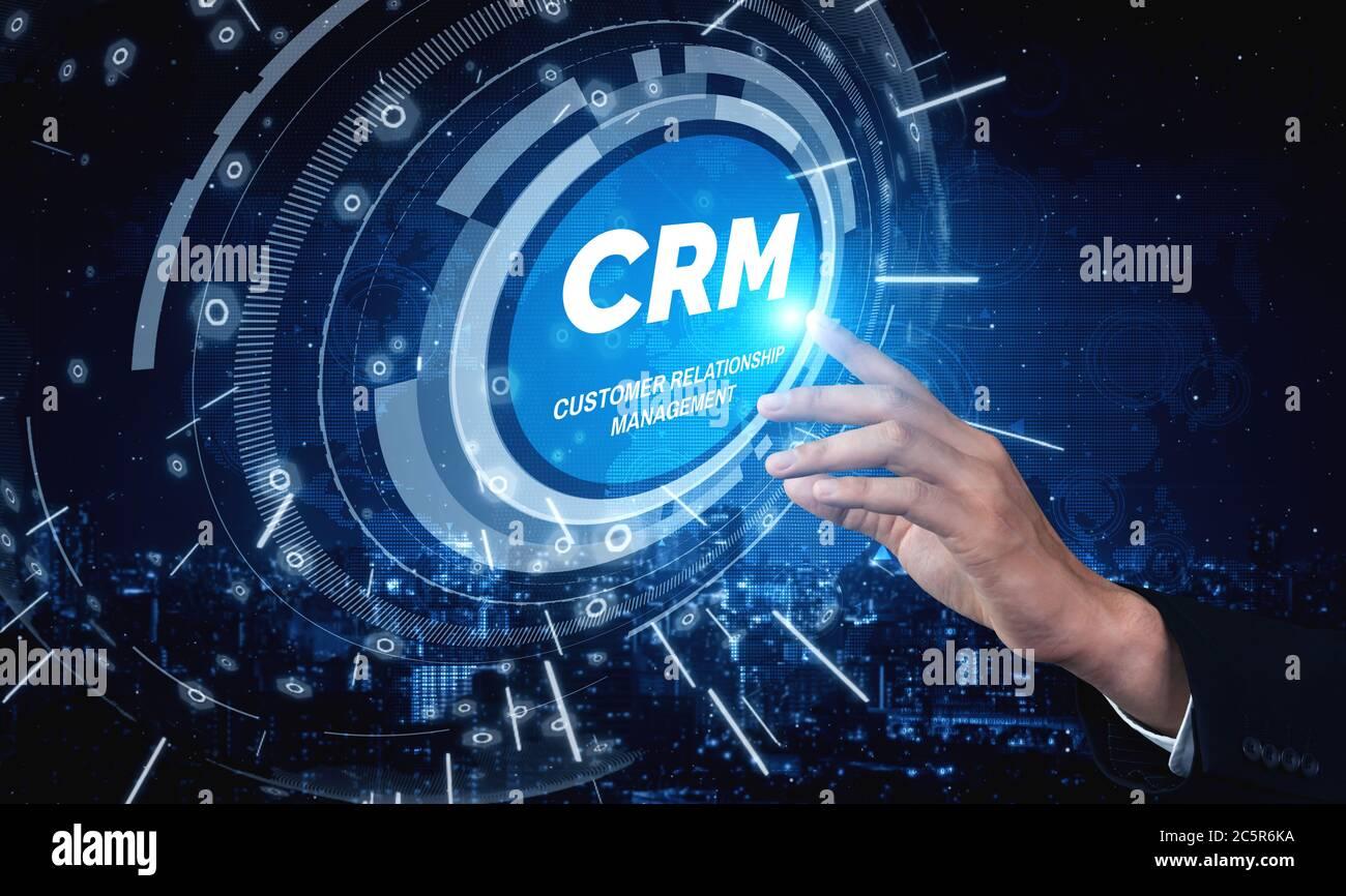 CRM Gestión de relaciones con clientes para el negocio de ventas concepto de sistema de marketing Foto de stock