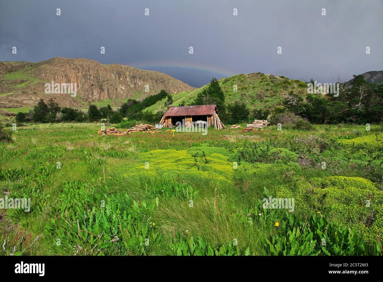 El edificio en el Chalten, Patagonia, Argentina Foto de stock