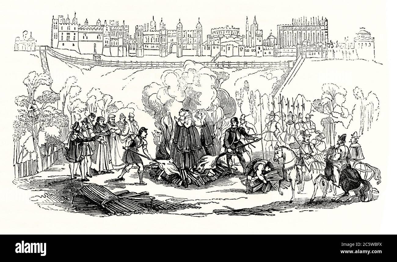 Un grabado antiguo que muestra una quema en la estaca en la Edad Media - los 'Mártires de Windsor' en Windsor, Berkshire, Inglaterra, Reino Unido en 1543. En Inglaterra, la quema fue un castigo legal infligido a mujeres declaradas culpables de alta traición, traición y herejía. Durante varios siglos, las convictas fueron quemadas públicamente en la hoguera, a veces vivas, por una serie de actividades. Mientras que los hombres culpables de herejía (como en este grabado) también fueron quemados en la estaca, los que cometieron alta traición fueron ahorcados, dibujados y acantonados. Las ejecuciones públicas fueron eventos bien atendidos. Foto de stock