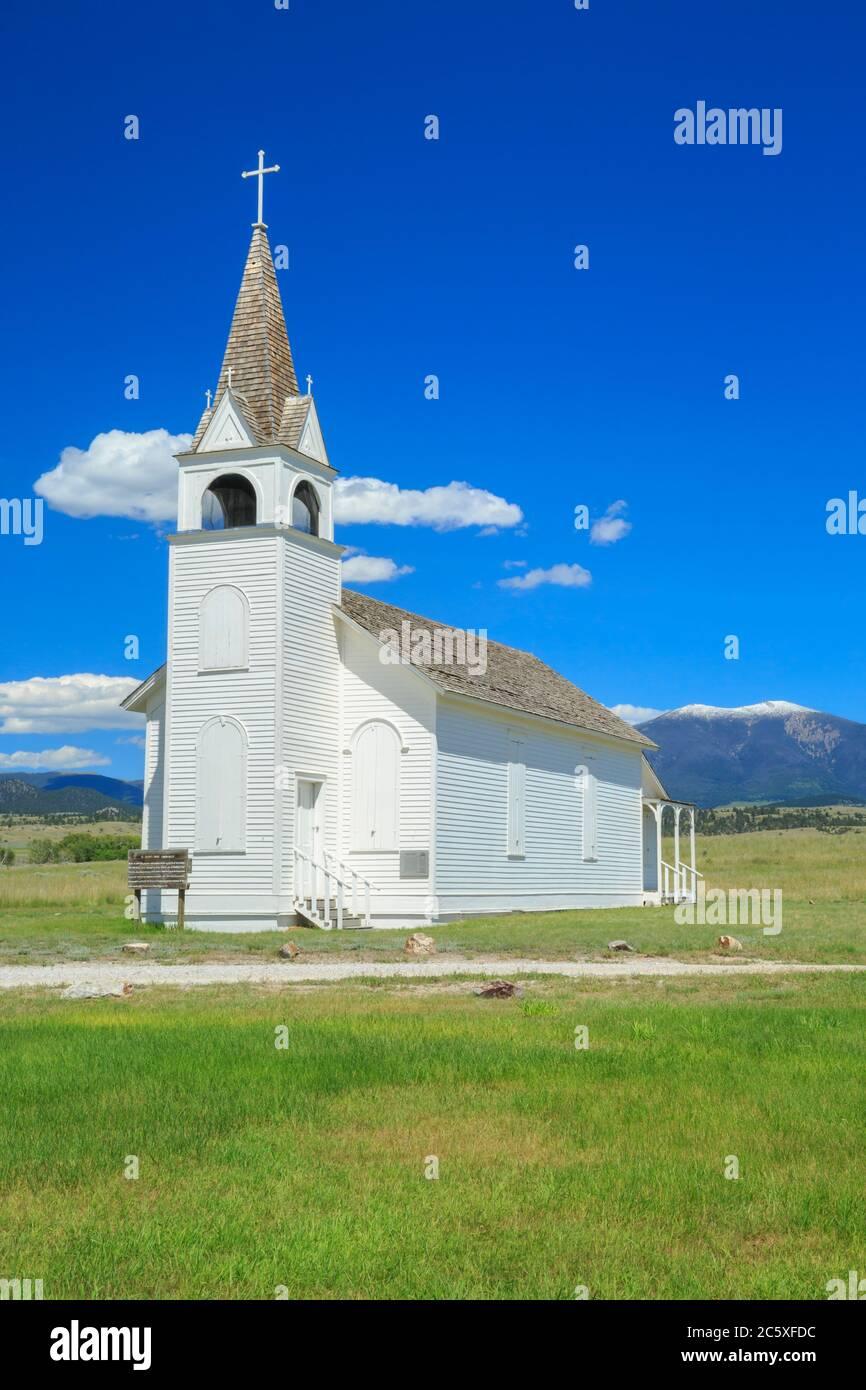 iglesia de la misión católica de san josé cerca de townsend, montana Foto de stock