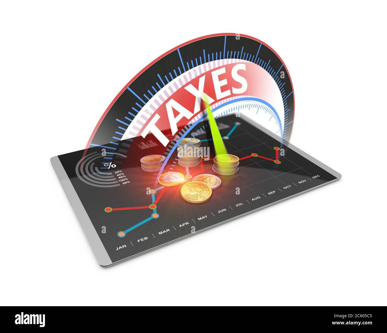 Economía tributaria reembolso de dinero como concepto. Tiempo para pagar impuestos, contabilidad, declaración de impuestos, banca 3D Ilustración. Foto de stock