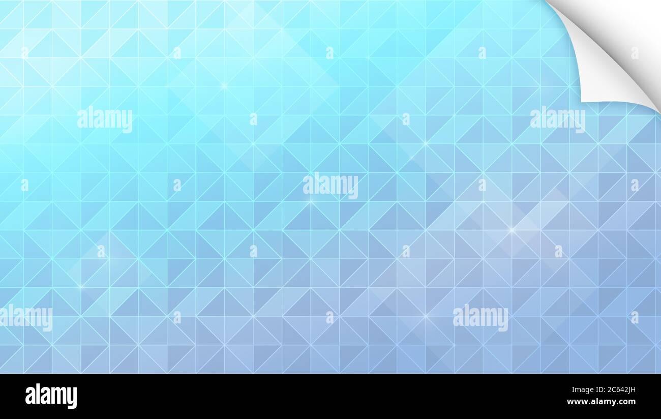 Fondo abstracto de triángulos turquesa, azul claro y púrpura con esquina de papel curvada. Fondo geométrico de forma triangular de fotograma completo. Foto de stock