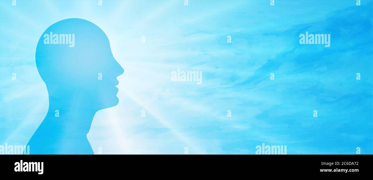 Concepto de salud mental. Cara de cabeza persona humana en el pensamiento de perfil. Psicología y mente. Metáfora del comportamiento y humor. Patología. Psiquiatría. Enfermedad Foto de stock