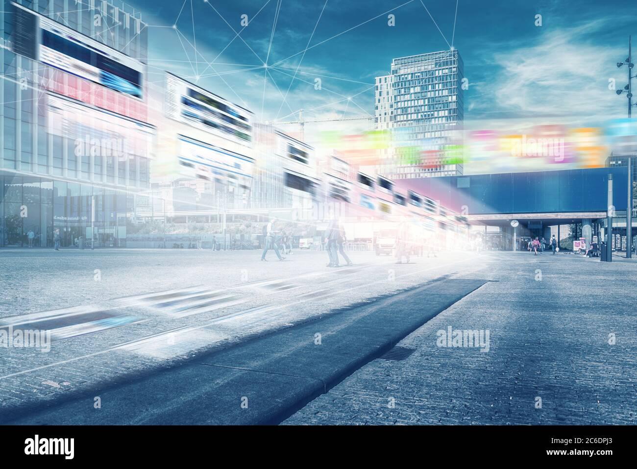 IOT, concepto de red de comunicación. Ciudad inteligente. 5G, ciudad, inteligencia artificial, Zuidas amsterdam, internet de las cosas, datos móviles, área de negocios, C Foto de stock