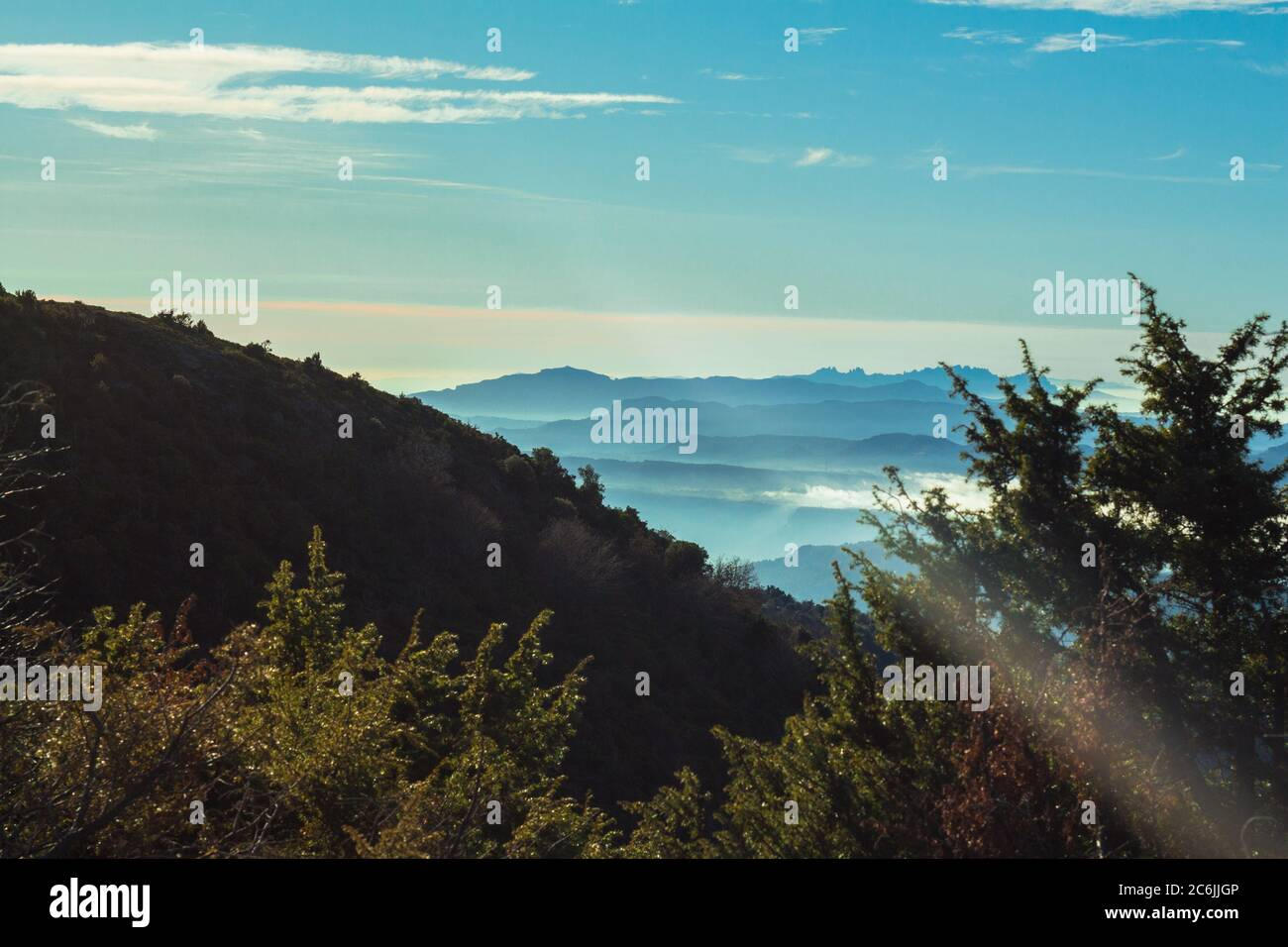 El Parque Natural de Montseny se encuentra en la sierra pre-costera catalana. Abarca una superficie de 31,063.94 hectáreas y está a 50km de Barcelona y 25km de fr Foto de stock