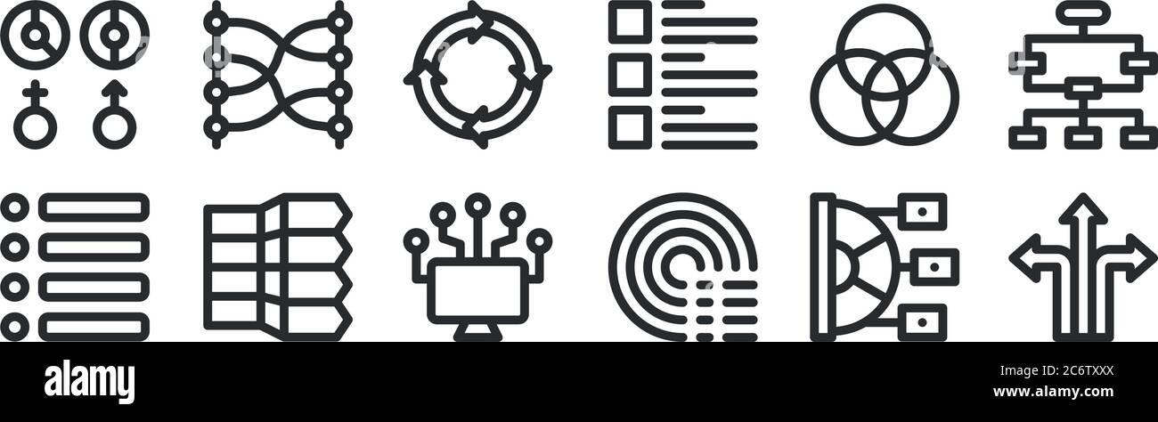conjunto de 12 iconos de contorno fino como direcciones, barrido, elementos infográficos, rgb, infografías, relaciones para web, móvil Ilustración del Vector
