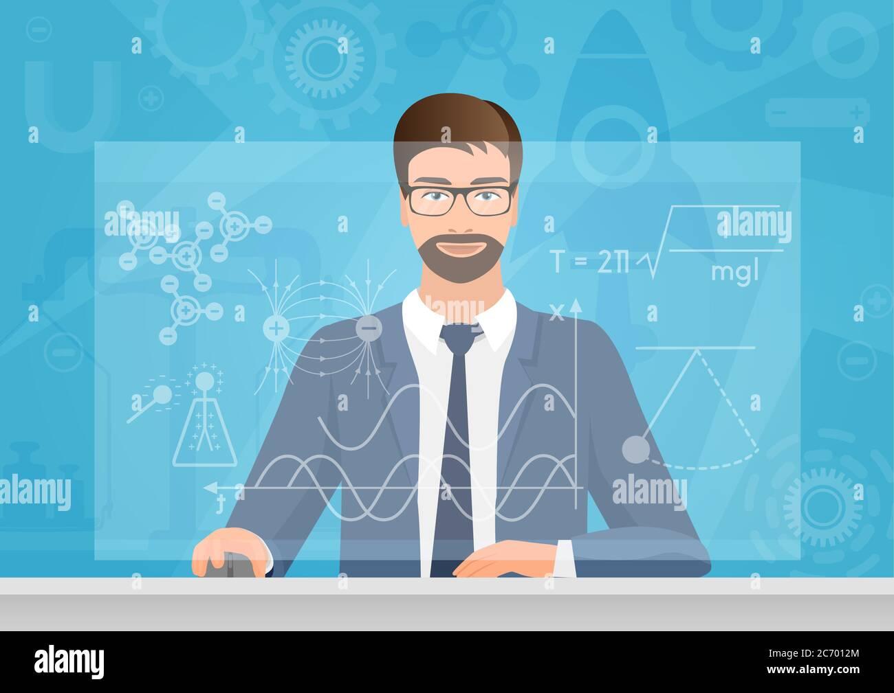 Físico de hombre barbudo haciendo la fórmula de los gráficos en la ilustración vectorial de la computadora. Tecnología física Ilustración del Vector