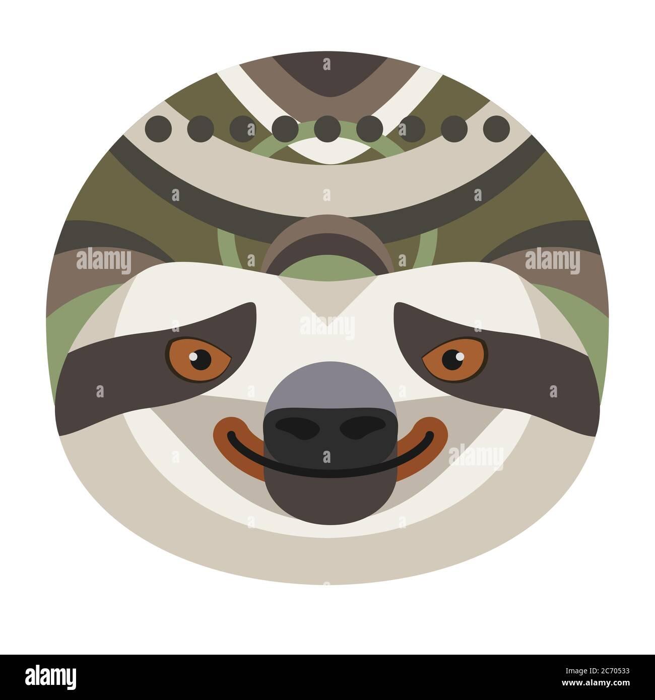 Logotipo de cabeza perezoso. Vector decorativo emblema aislado Ilustración del Vector