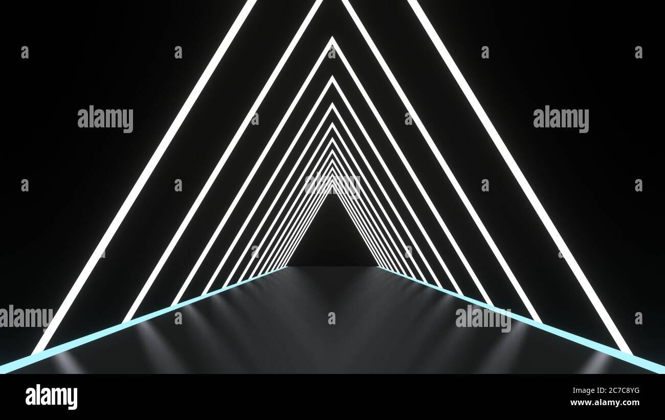 Fondo abstracto líneas brillantes túnel, luces de neón, portal triangular. Color blanco. Imagen de renderizado en 3D Foto de stock