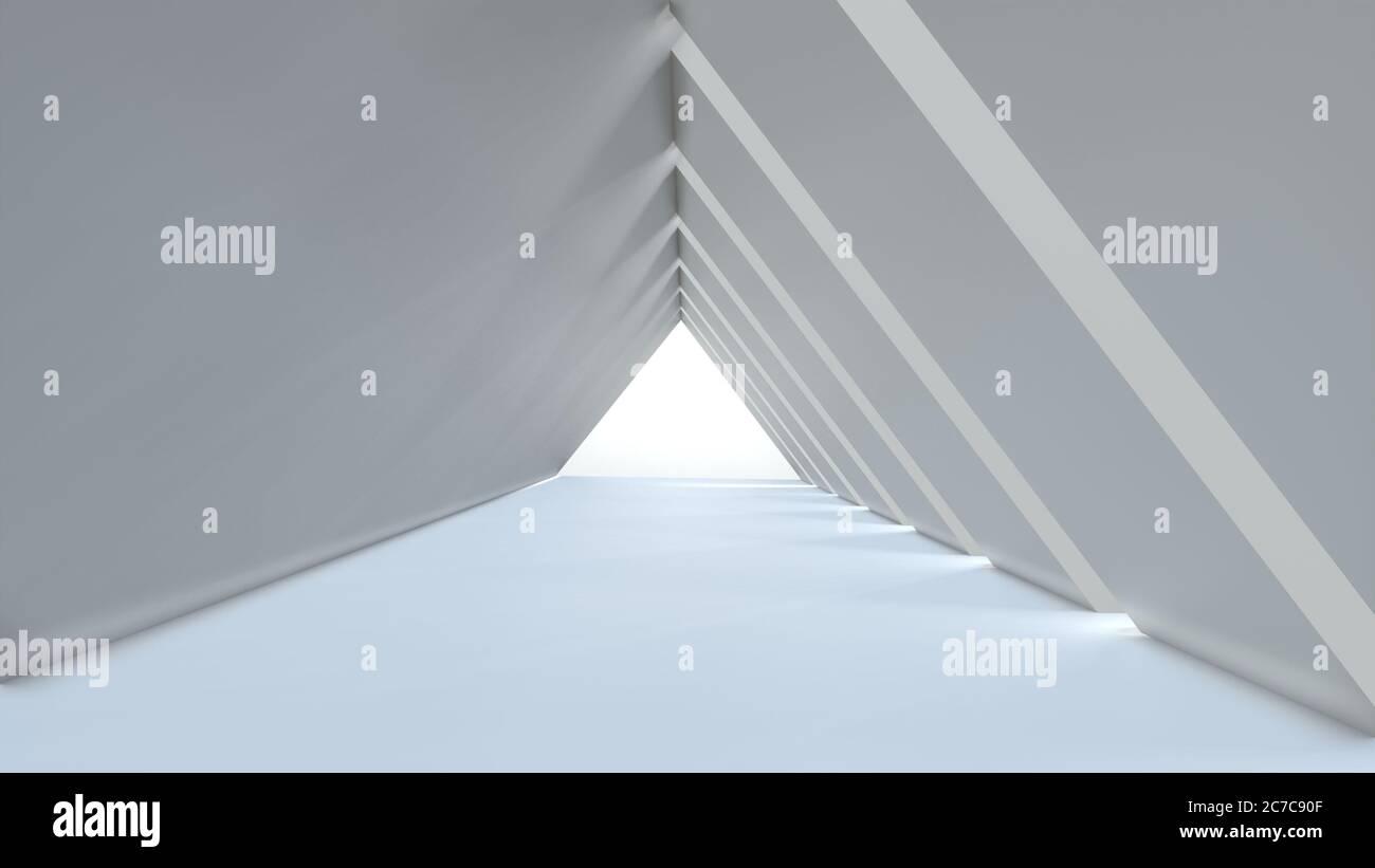 Fondo vacío largo pasillo moderno claro, blanco túnel triangular. Imagen de renderizado en 3D Foto de stock