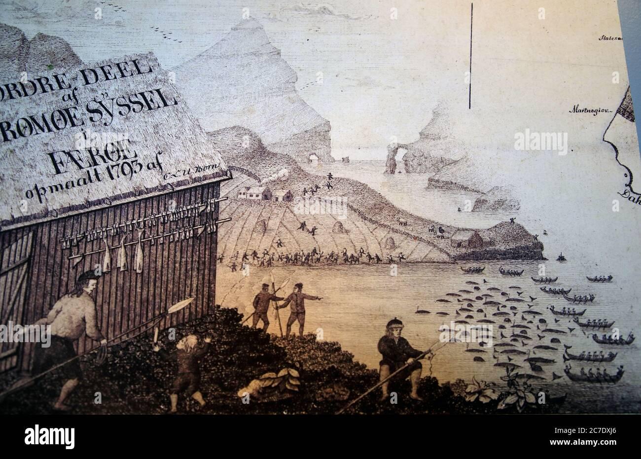 Dibujo histórico de la muestra de la escena ballenera local en el Museo Nacional de las Islas Feroe.Torshavn.Streymoy.Islas Feroe.Territorio de Dinamarca Foto de stock