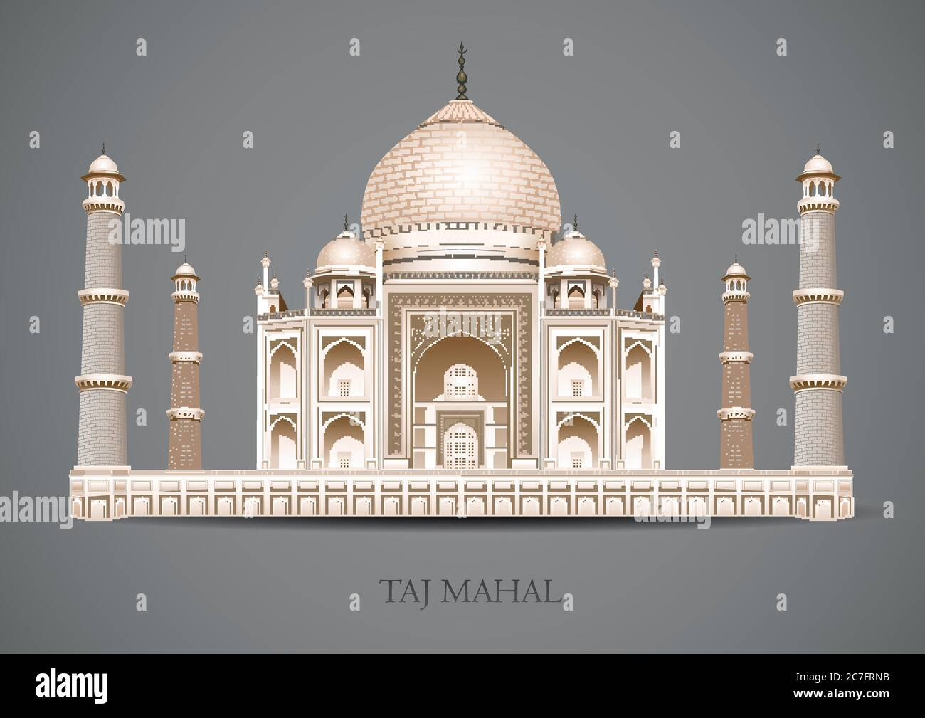 Taj Mahal Sobre Fondo Gris Arquitectura De La Cultura India Plano Nuevo Estilo Histórico Vista Lugar De Exhibición Atracción Web Sitio Web Vector Ilustración Mausoleu Imagen Vector De Stock Alamy