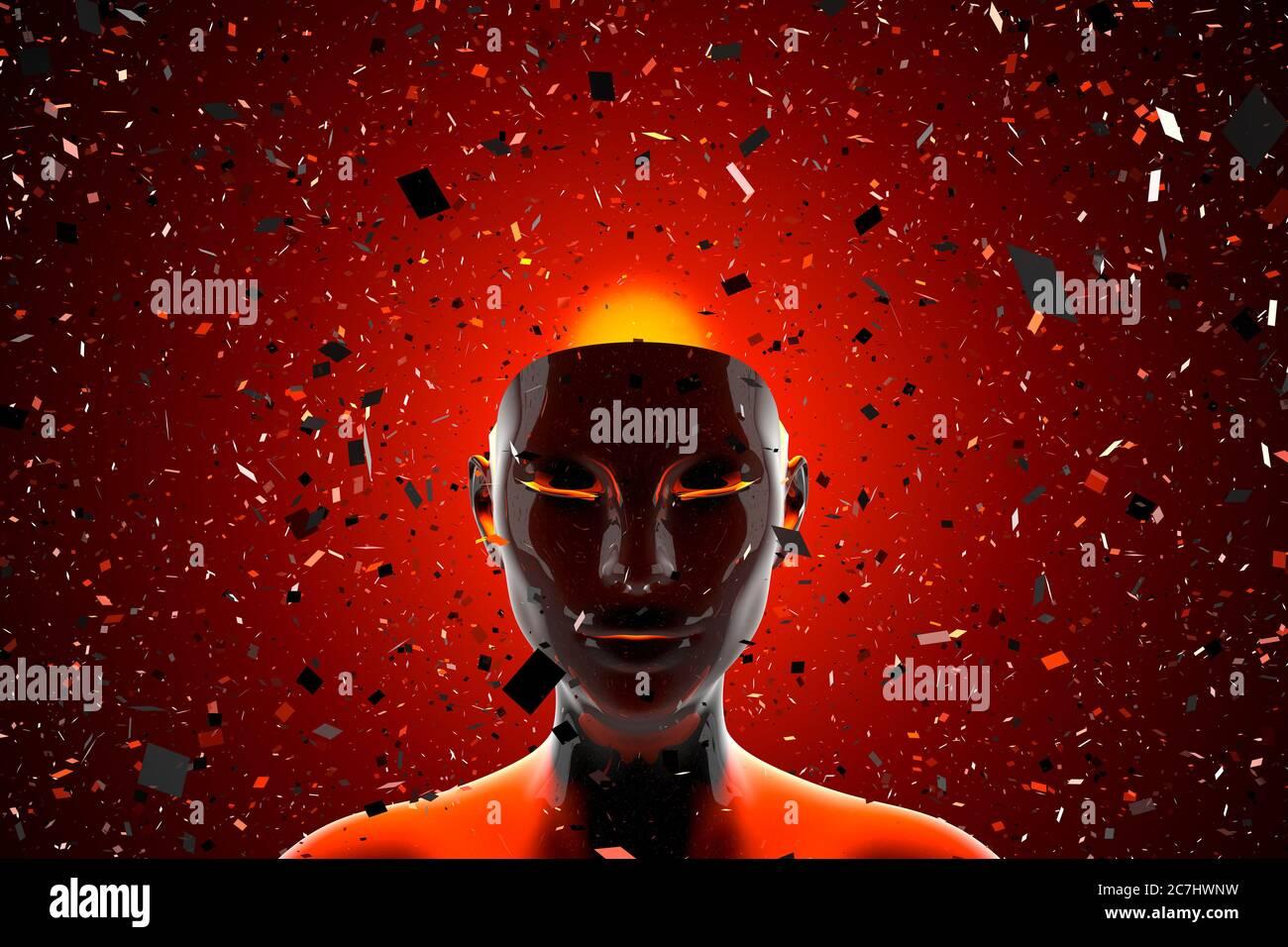 Ilustración 3D de una cabeza disolviendo en fragmentos que simbolizan una mente pensante o una inteligencia artificial. Foto de stock
