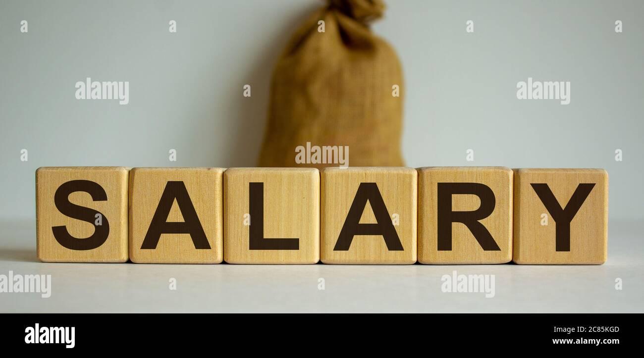 Concepto de palabra 'salary' en cubos sobre un hermoso fondo blanco, gran bolsa de lona. Foto de stock