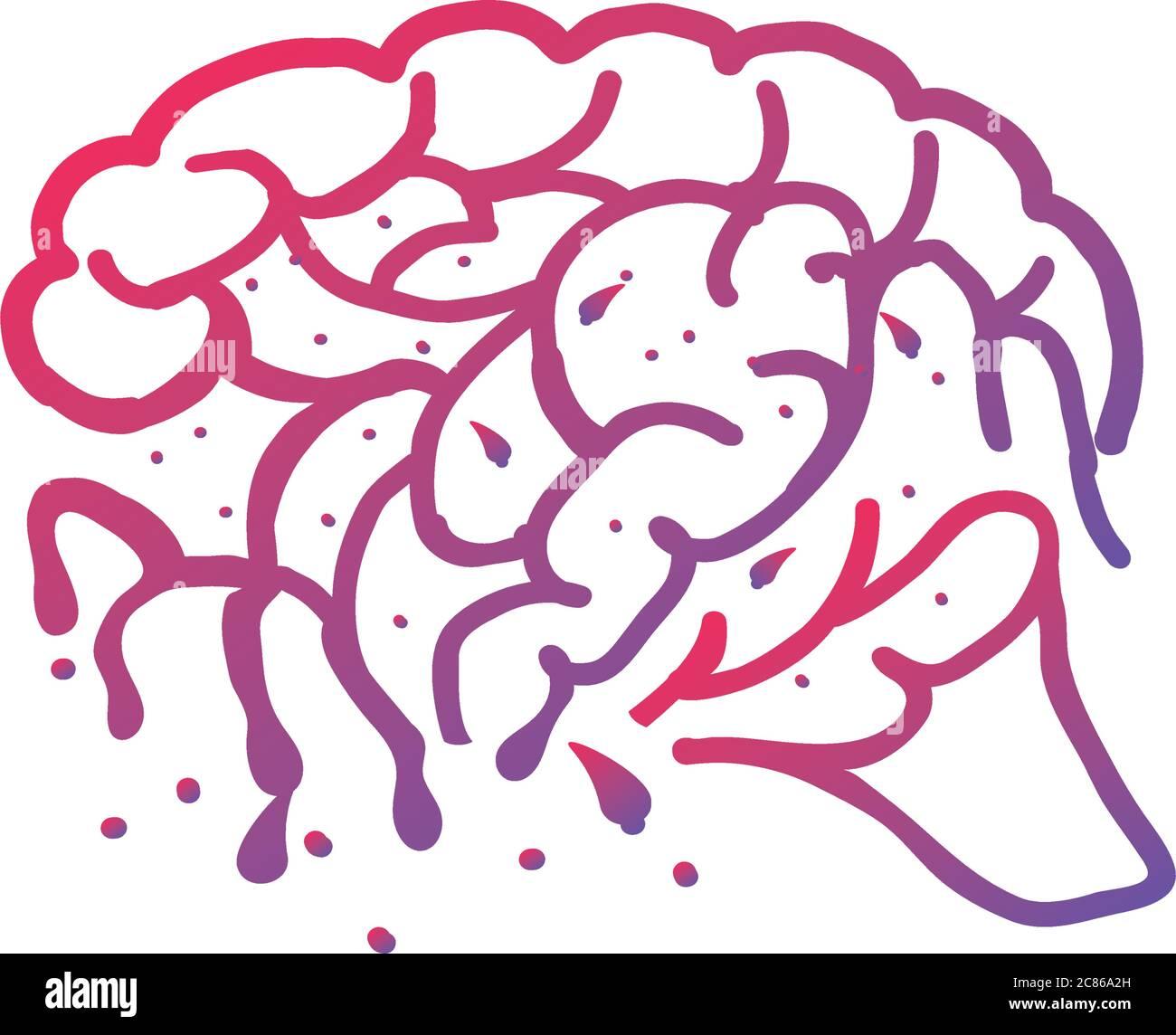 pensamiento cerebral y diseño sobre fondo blanco vector ilustración diseño Ilustración del Vector